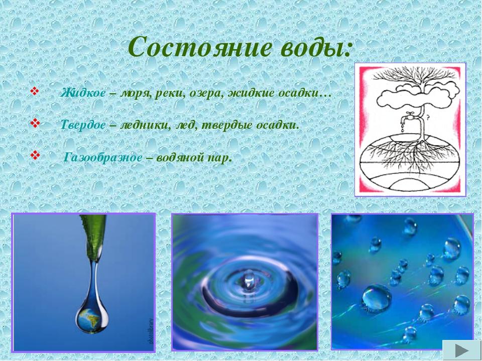 Состояние воды: Жидкое – моря, реки, озера, жидкие осадки… Твердое – ледники,...