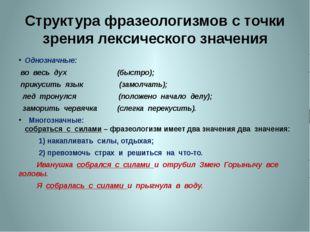Структура фразеологизмов с точки зрения лексического значения Однозначные: во