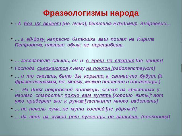 Фразеологизмы народа - А бог их ведает [не знаю], батюшка Владимир Андреевич…...