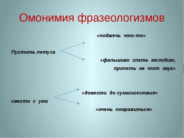 Омонимия фразеологизмов «поджечь что-то» Пустить петуха «фальшиво спеть мелод...