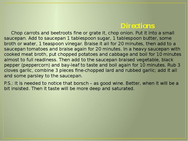 Directions Chop carrots and beetroots fine or grate it, chop onion. Put it i...
