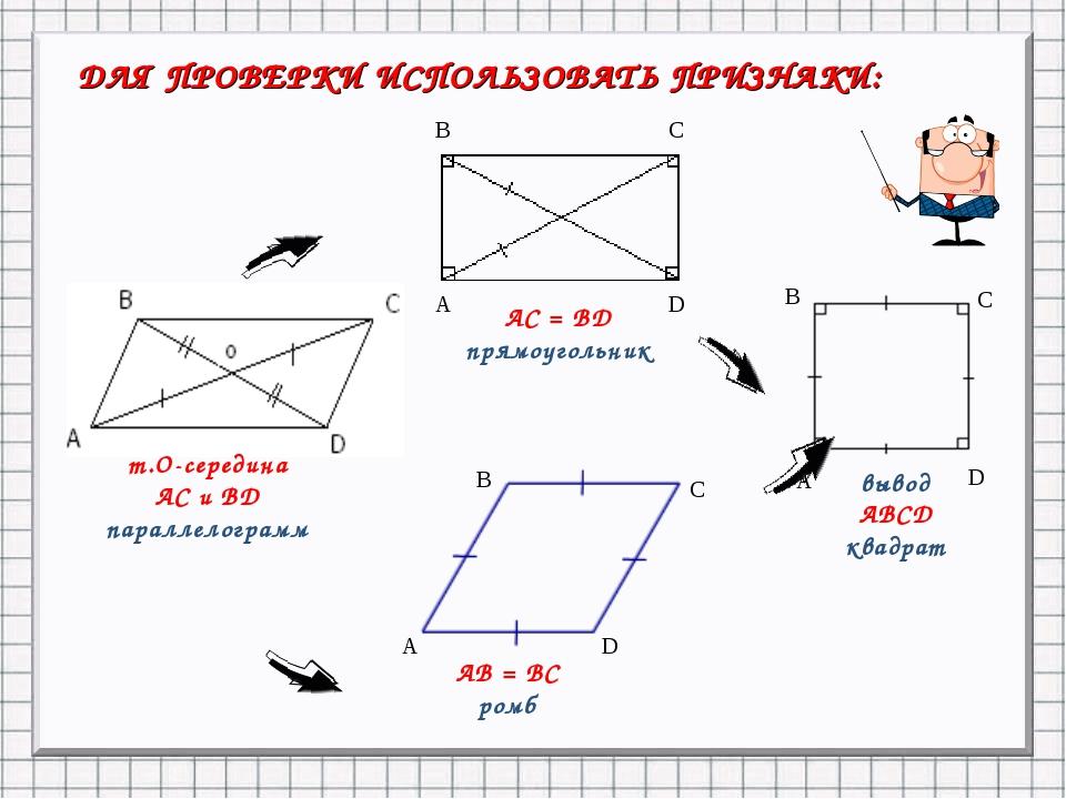ДЛЯ ПРОВЕРКИ ИСПОЛЬЗОВАТЬ ПРИЗНАКИ: т.О-середина АС и ВD параллелограмм вывод...