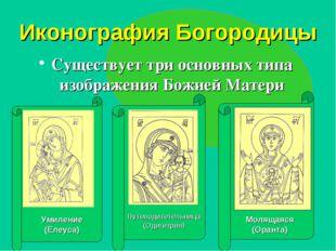 Иконография Богородицы Существует три основных типа изображения Божией Матери