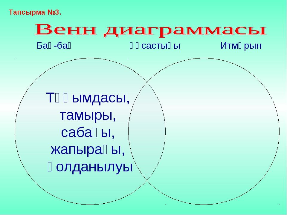 Бақ-бақ Ұқсастығы Итмұрын Тапсырма №3.