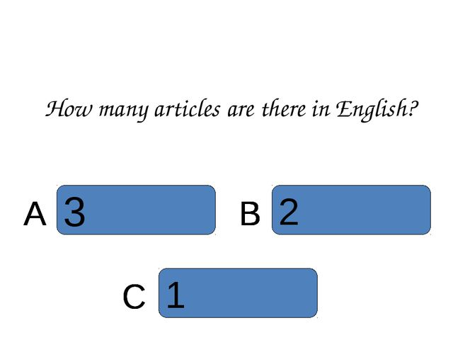 How many articles are there in English? B C A A B A B A C B A 1 C 2 B 3 A 3 A...