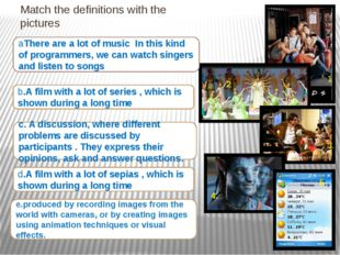 Match the definitions with the pictures e.produced by recording images from t