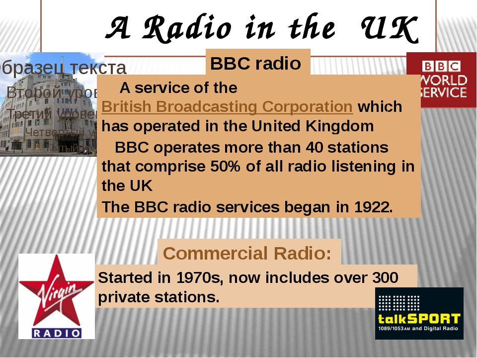 A Radio in the UK BBC radio Commercial Radio: A service of the British Broad...