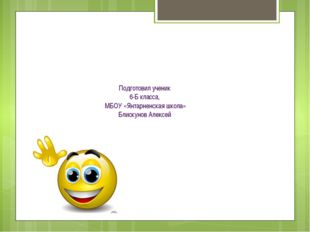 Подготовил ученик 6-Б класса, МБОУ «Янтарненская школа» Блискунов Алексей