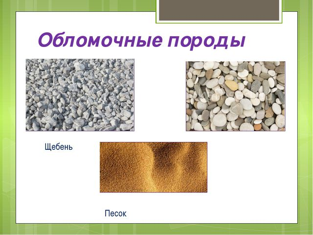 Обломочные породы Щебень Галька Песок
