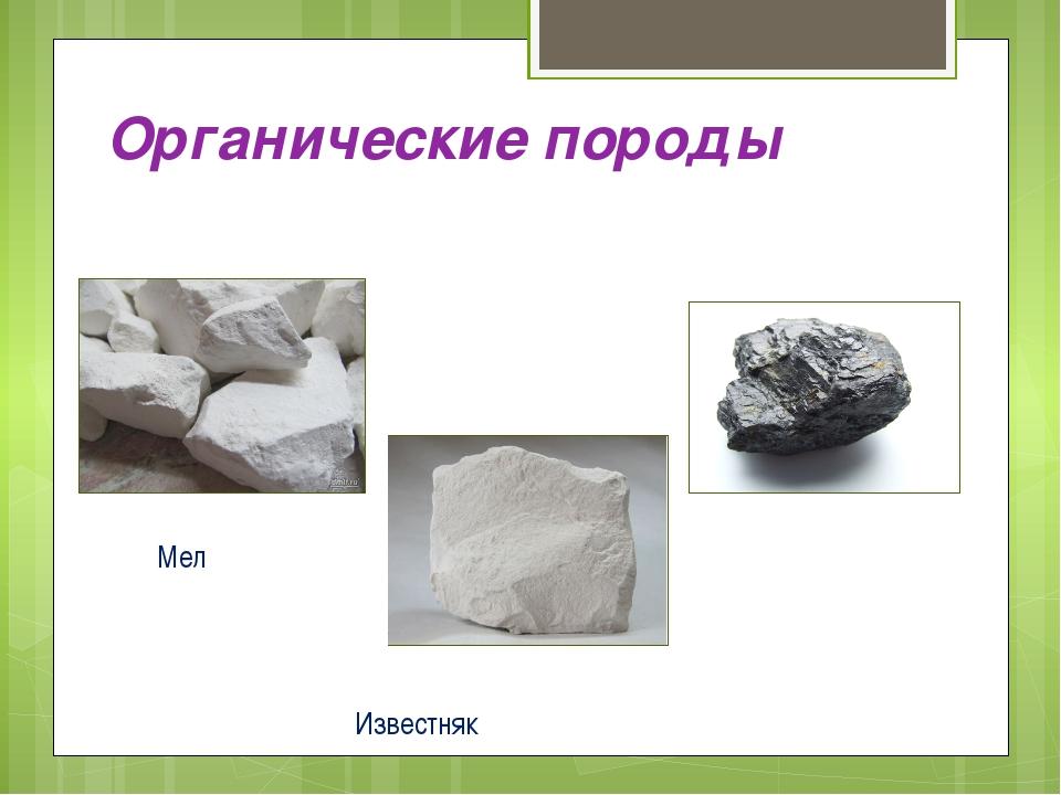 Органические породы Мел Уголь Известняк