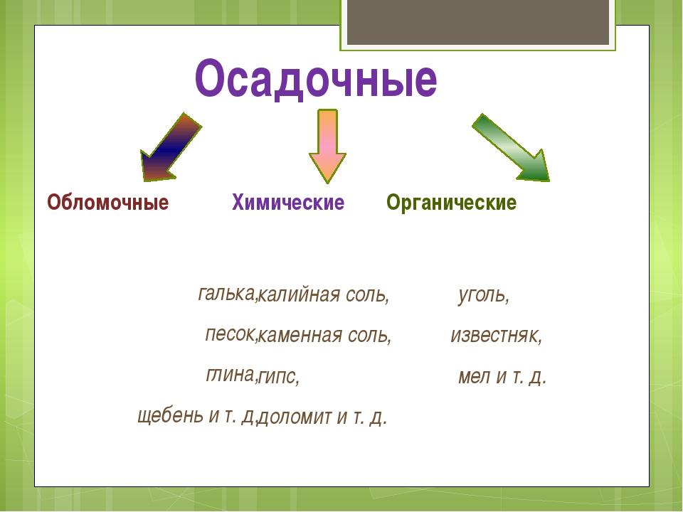Обломочные Химические Органические галька, песок, глина, щебень и т. д. калий...