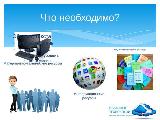 Что необходимо? Материально-технические ресурсы Информационные ресурсы Научно...