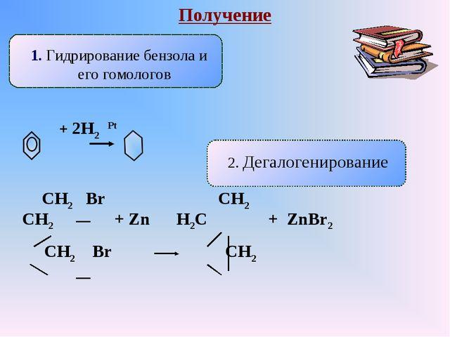 Получение 1. Гидрирование бензола и его гомологов 2. Дегалогенирование + 2Н2...