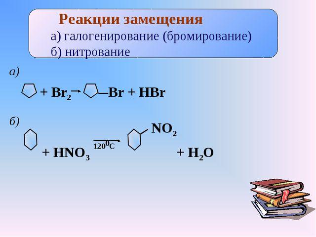 Реакции замещения а) галогенирование (бромирование) б) нитрование + Br2 Br +...