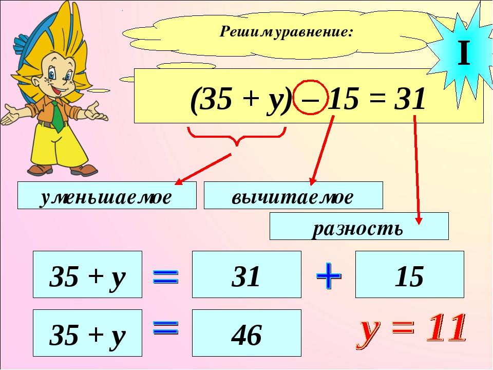 Решим уравнение: (35 + у) – 15 = 31 уменьшаемое вычитаемое разность 35 + у 31...