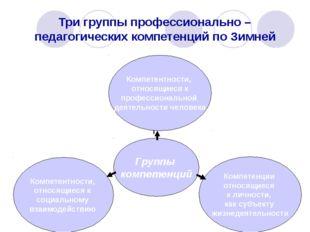 Три группы профессионально – педагогических компетенций по Зимней