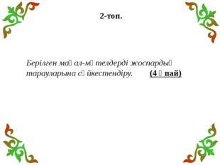 2-топ. Берілген мақал-мәтелдерді жоспардың тарауларына сәйкестендіру. (4 ұпай)