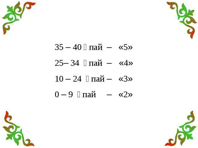35 – 40 ұпай – «5» 25– 34 ұпай – «4» 10 – 24 ұпай – «3» 0 – 9 ұпай – «2»