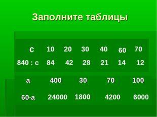 Заполните таблицы с 840 : с 10 84 20 42 30 28 40 21 60 14 70 12 24000 1800 42