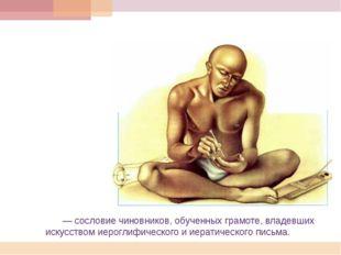 Писцы́— сословие чиновников, обученных грамоте,владевших искусством иерогл