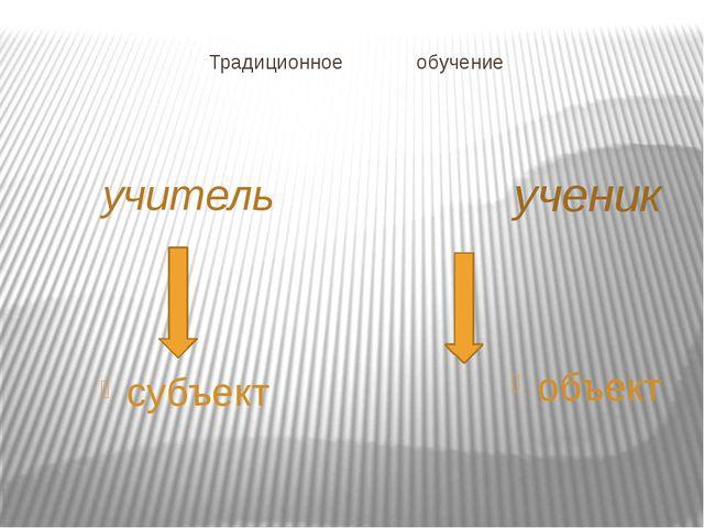 Традиционное обучение учитель ученик субъект объект