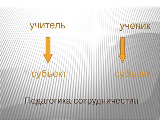 Педагогика сотрудничества учитель ученик субъект субъект