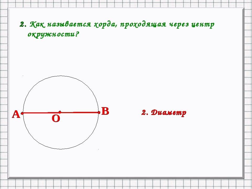 2. Как называется хорда, проходящая через центр окружности? 2. Диаметр