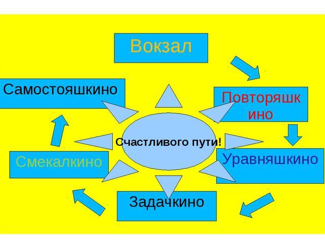 Вокзал Повторяшкино Самостояшкино Уравняшкино Задачкино Смекалкино Счастливо...