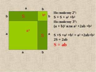 a² S S b² a a a a b b b b По свойству 2º: S + S + a² +b² По свойству 3º: (a +
