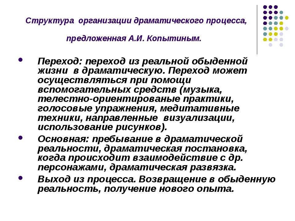Структура организации драматического процесса, предложенная А.И. Копытиным. П...