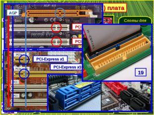 Системная (материнская) плата Разъём для установки процессора Слоты для устан