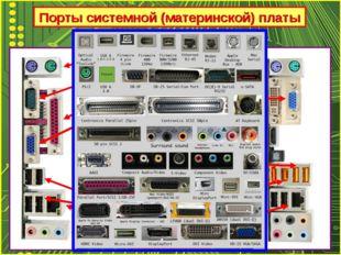Порты системной (материнской) платы PS/2 COM LPT VGA USB 2.0 RG-45 (LAN) AUDI