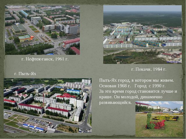 г. Нефтеюганск, 1961 г. г. Покачи, 1984 г. г. Пыть-Ях Пыть-Ях город, в которо...