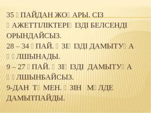 35 ҰПАЙДАН ЖОҒАРЫ. СІЗ ҚАЖЕТТІЛІКТЕРІҢІЗДІ БЕЛСЕНДІ ОРЫНДАЙСЫЗ. 28 – 34 ҰПАЙ.