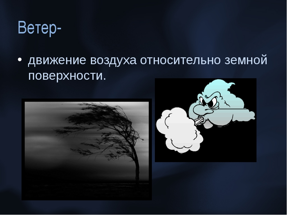 Ветер- движение воздуха относительно земной поверхности.
