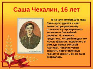Саша Чекалин, 16 лет В начале ноября 1941 года Саша простудился и слег. Комис