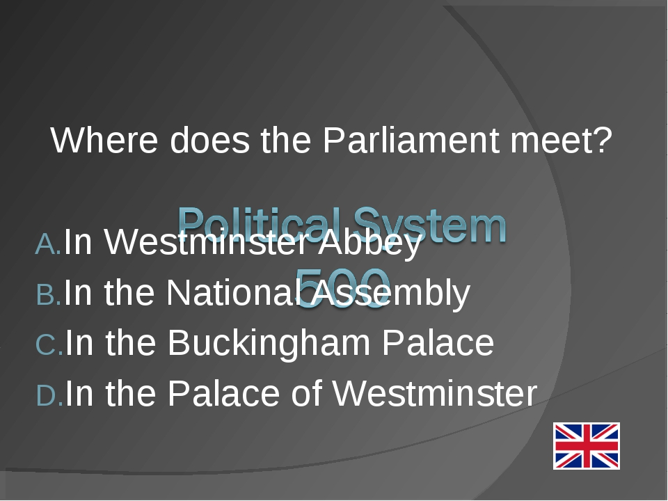 Where does the Parliament meet? In Westminster Abbey In the National Assembly...