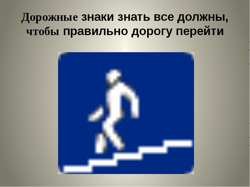 Дорожные знаки знать все должны, чтобы правильно дорогу перейти