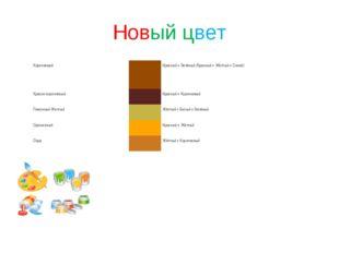 Новый цвет КоричневыйКрасный + Зелёный (Красный + Жёлтый + Синий) Красно-ко