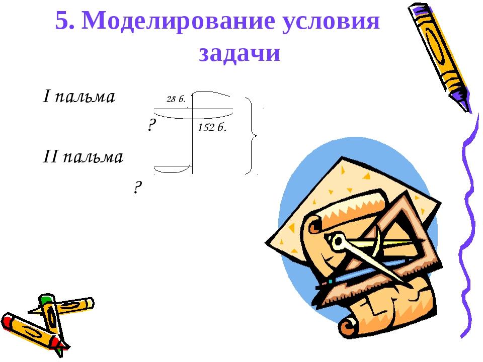 5. Моделирование условия задачи I пальма 28 б. ? 152 б. II пальма ?