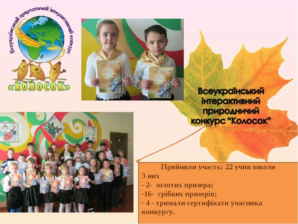 Прийняли участь: 22 учня школи З них - 2- золотих призера; 16- срібних призер...