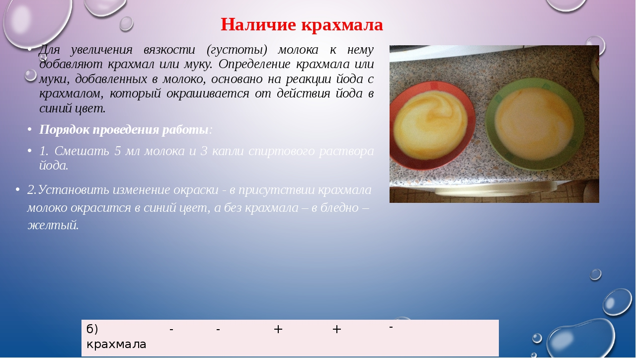 Наличие крахмала Для увеличения вязкости (густоты) молока к нему добавляют кр...