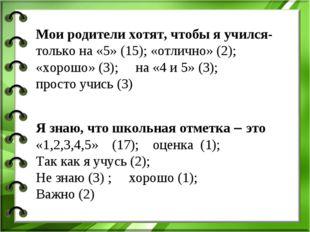 Мои родители хотят, чтобы я учился- только на «5» (15); «отлично» (2); «хорош