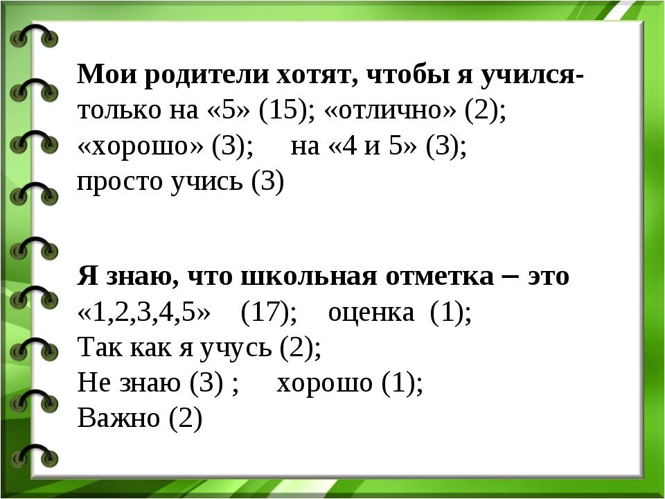 Мои родители хотят, чтобы я учился- только на «5» (15); «отлично» (2); «хорош...