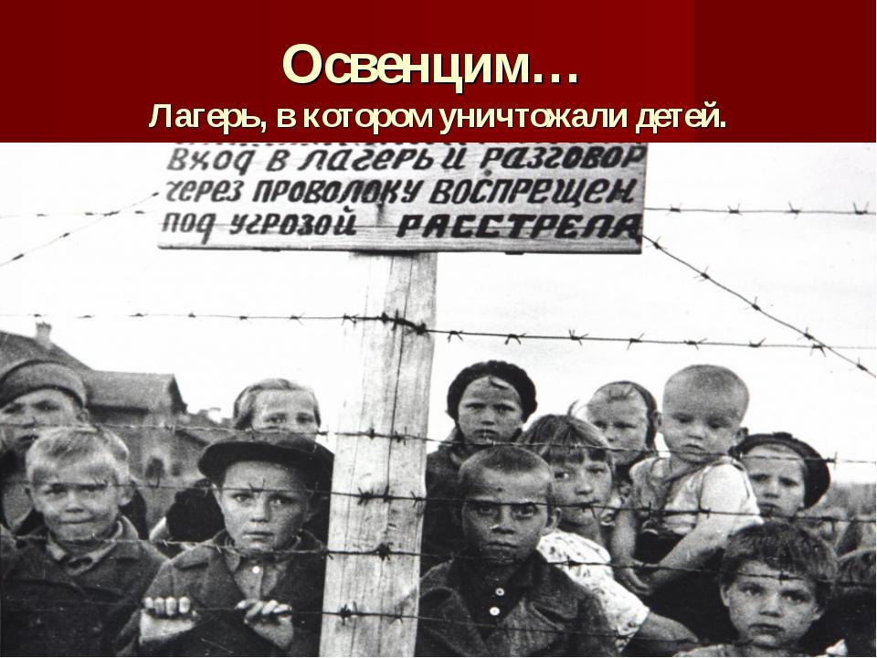 Освенцим… Лагерь, в котором уничтожали детей.