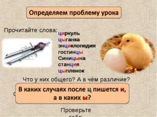 Прочитайте слова: циркуль цыганка энциклопедия гостинцы Синицына станция цыпл