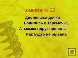 Комната № 25 Двойняшки-дочки Родились в теремочке, А мамка вдруг пропала К