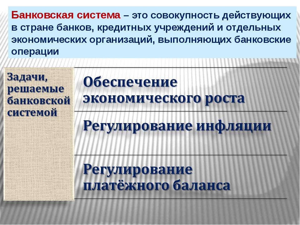 Банковская система – это совокупность действующих в стране банков, кредитных...