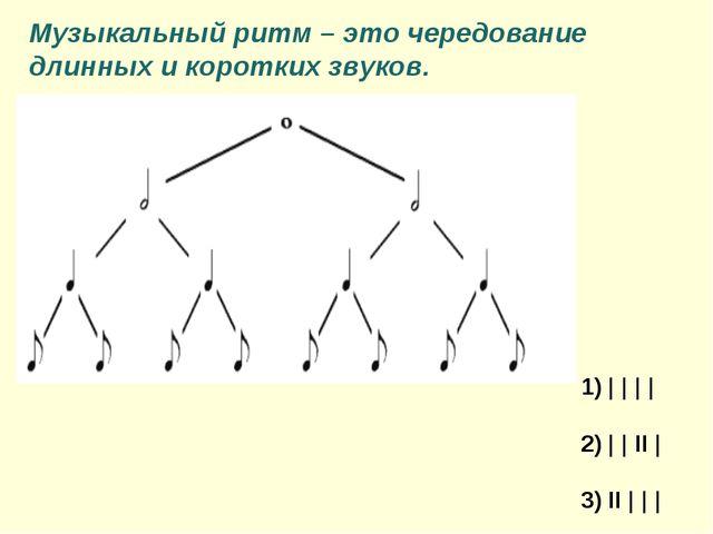 1) | | | | 2) | | II | 3) II | | | Музыкальный ритм – это чередование длинных...