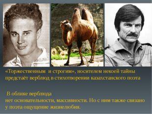 «Торжественным и строгим», носителем некоей тайны предстаёт верблюд в стихотв